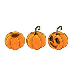 Isometric carving halloween pumpkins set vector