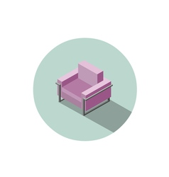Isometric modern pink armchair 3d flat interior vector