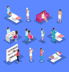 Isometric people and cosmetology set vector