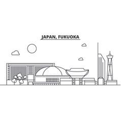 Japan fukuoka architecture line skyline vector