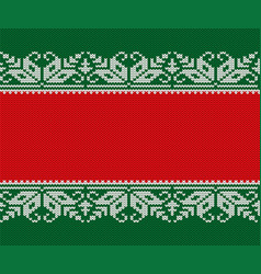 knitted christmas red and green background vector image