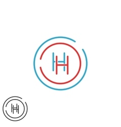 Letter H logo monogram initials HH intersection vector image