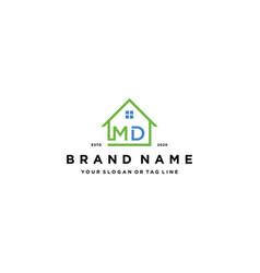 Letter md home logo design vector