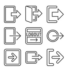 logout and exit arrow icons set on white vector image