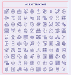 made x made easter line icons vector image