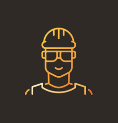 male worker creative linear icon - builder vector image