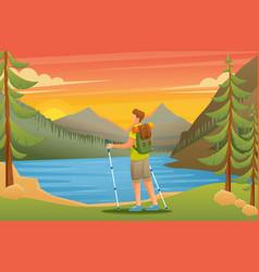 man admires beauty nature on lake vector image