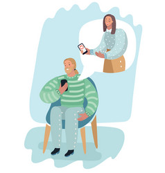 man and woman online with smartphone vector image