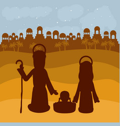 Mary joseph and baby jesus silhouette design vector