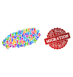 Migration composition of mosaic map of korean jeju vector