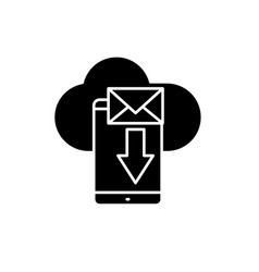 mobile letter black icon sign on isolated vector image