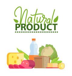 Natural product cheese and bread salami vector