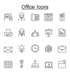 office icons set in thin line style vector image