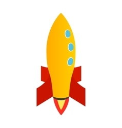 Orange rocket icon isometric 3d style vector image