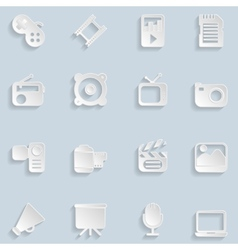 Paper Multimedia Icons vector image