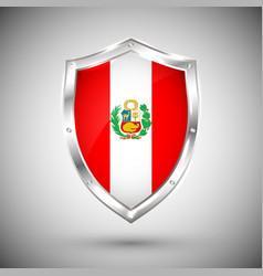 peru flag on metal shiny shield collection vector image
