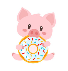 Pig sitting and eating doughnut vector