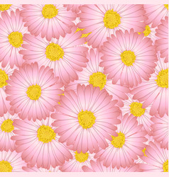 Pink aster daisy flower seamless background vector