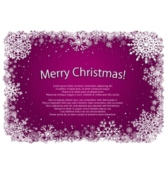Pink Christmas background with frame of snowflakes vector image