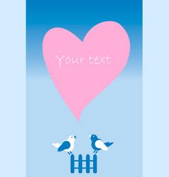 Postcard invitation with heart fence birds vector