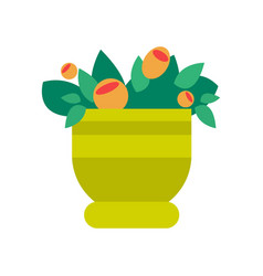 pot with flowers and leaves vector image vector image