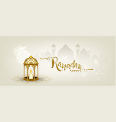 ramadan kareem with crescent moon gold luxurious vector image