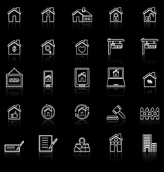 Real estate line icons with reflect on black vector
