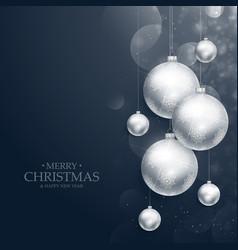 realistic hanging christmas balls decoration on vector image