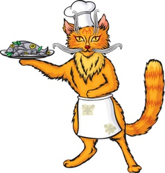 Red cat chef the fish dish vector