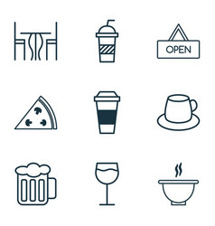Restaurant icons set collection of board vector