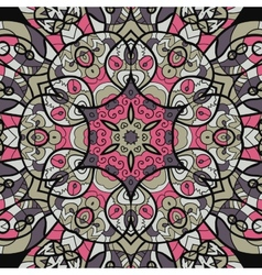 Seamless pink and brown mandala ornament template vector image