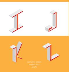 Set of isometry letters i j k l font part vector