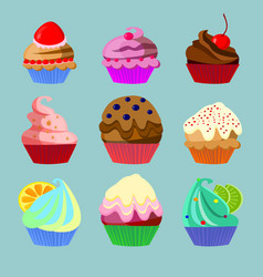 set of nine sweets vector image