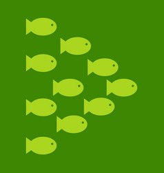 set silhouettes of groups of sea fishes colony of vector image