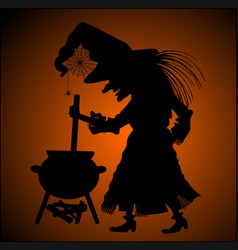 Silhouette of witch vector