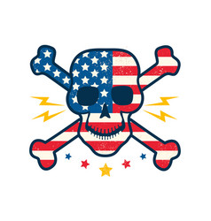 skull with flag usa vector image