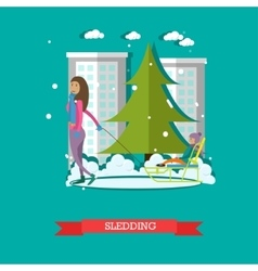 Sledding concept in flat style vector