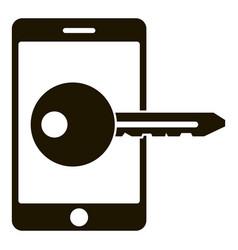 smartphone key lock icon simple style vector image