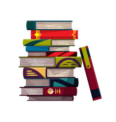stack colorful books on a white background vector image