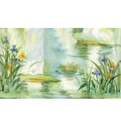 Summer pond watercolor vector