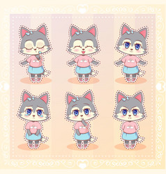 Sweet kitty little cute kawaii anime cartoon husky vector