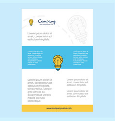template layout for bulb comany profile annual vector image