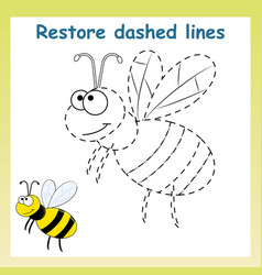 Trace game for children cartoon bee restore vector