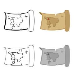 treasure map icon cartoon singe western icon from vector image