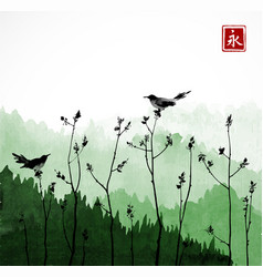 Two black birds on trees branches and mountains vector