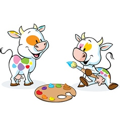 Two original cows painted spots on their body vector