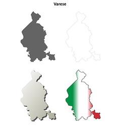 Varese blank detailed outline map set vector