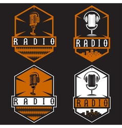 Vintage labels of radio with microphone vector