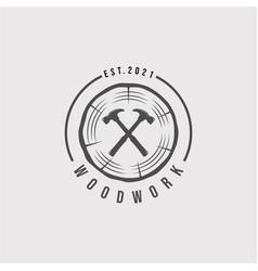 Vintage woodwork logo woodwork hammer logo design vector