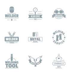 Welding logo set simple style vector